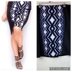 Lane Bryant scuba stretch ikat print pencil skirt